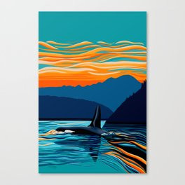 Orca into the Fire Sky Canvas Print