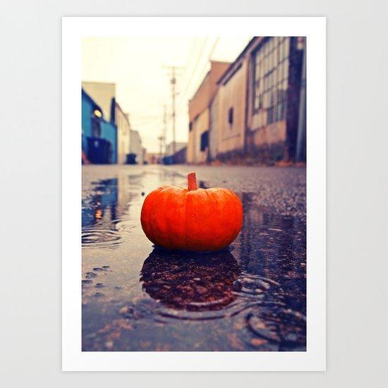 Rainy day pumpkin Art Print
