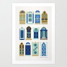 Moroccan Doors – Blue & Gold Palette Art Print