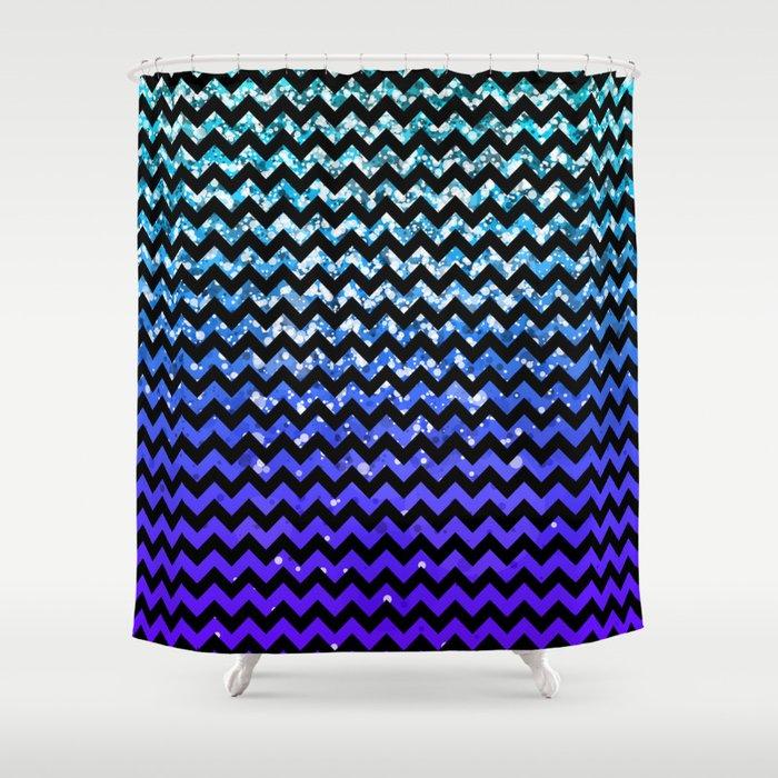 Glitter Chevron Variations IV Shower Curtain