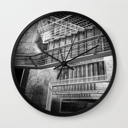 Exterior Stairway at the Getty bw Wall Clock
