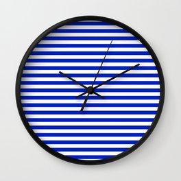 Cobalt Blue and White Thin Horizontal Deck Chair Stripe Wall Clock