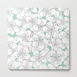 Cherry Blossom With Mint Blocks - In Memory of Mackenzie Metal Print