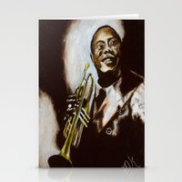 louis armstrong Stationery Cards featuring Satchmo - Louis Armstrong by Nicole Kallenberg