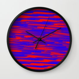 Running luxury blue scribble of art waves and red highlights. Wall Clock
