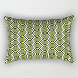 1960's Inspired Green, Yellow, Black and White Pattern Rectangular Pillow