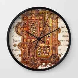 Book Of Kells Incipit To Luke On Script Wall Clock