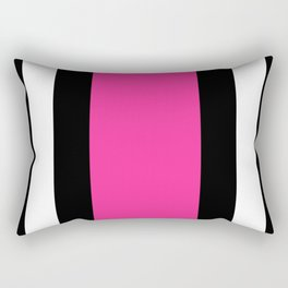 Black, White and Pink Vertical Stripes Rectangular Pillow
