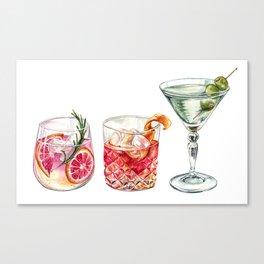 Watercolor Cocktails  Canvas Print