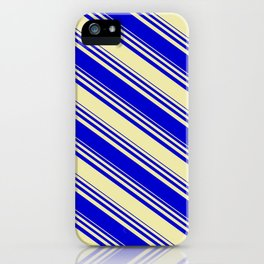 Pale Goldenrod & Blue Colored Stripes Pattern iPhone Case