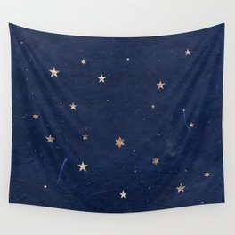 Good night - Leaf Gold Stars on Dark Blue Background Wall Tapestry