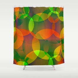 Abstract soap of blue and green bright circles and bubbles on a luminous background. Shower Curtain