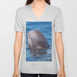 Cute wild pilot whale baby Unisex V-Neck