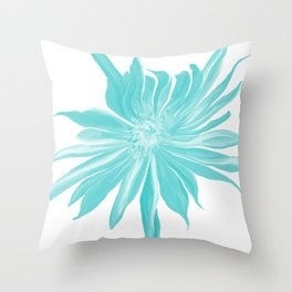 Teal Watercolor Flower Throw Pillow