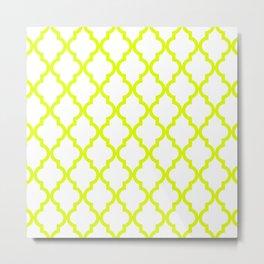 Chartreuse Moroccan Pattern Metal Print