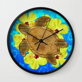 Honu Hawaiian Nautical Map Wall Clock