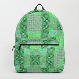 Adorable Geometric Quilt in Retro Lime and Grey Backpack