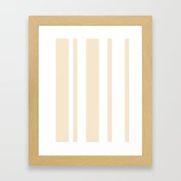 Mixed Vertical Stripes - White and Champagne Orange Framed Art Print