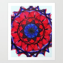 Ruby Sapphire Mandala Art Print