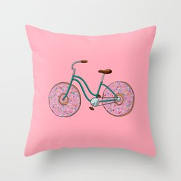 Donut Bicycle Throw Pillow