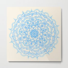 Pale Blue Pencil Pattern - hand drawn lace mandala Metal Print