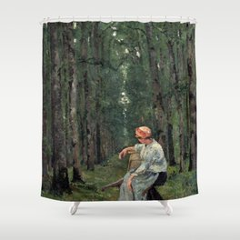 Ion Andreescu Woman in the Woods Shower Curtain
