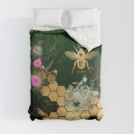 French chic, victorian,bee,floral,gold foil, belle epoque,art nouveau, green foil, elegant chic coll Comforters