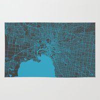melbourne Area & Throw Rugs featuring Melbourne map by Map Map Maps