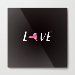 Love New York : Pink Watercolor on Black Metal Print