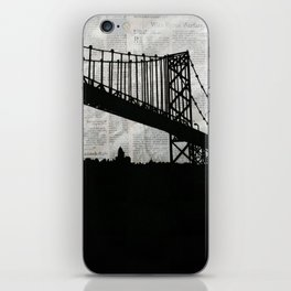 Paper City, Newspaper Bridge Collage iPhone Skin