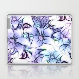 Violet pink teal hand painted sketch elegant floral Laptop & iPad Skin