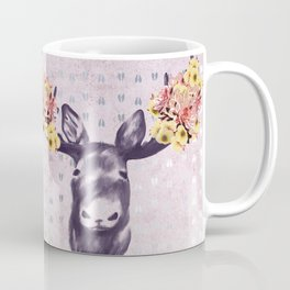 Flower Blossom Antlers Moose Head Coffee Mug