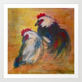 Rooster and Hen Leghorns Art Print