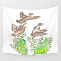 ducks Wall Tapestries featuring  Wild ducks by Thesecretcolors