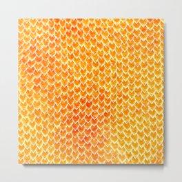Mermaid Scales - Orange Gold Metal Print