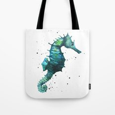 Seahorse print, seahorse painting, watercolor seahorse, green seahorse, ocean art Tote Bag