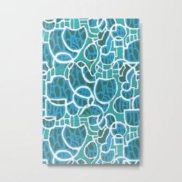 Bubbles Blue Metal Print