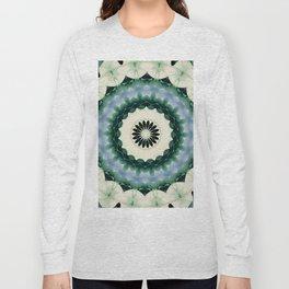 White Flower and Cerulean Blue Mandala Long Sleeve T-shirt