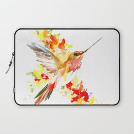 Hummingbird and Flame Colored Flowers, yellow red floral art design Laptop Sleeve