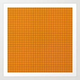 Orange Grid Black Line Art Print