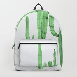 Cactus Trio Marble Green Watercolor by Nature Magick Backpack