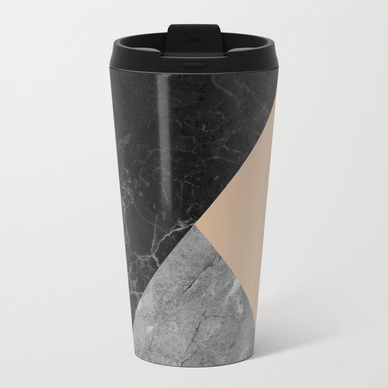 Black and white marbles and pantone hazelnut color Metal Travel Mug