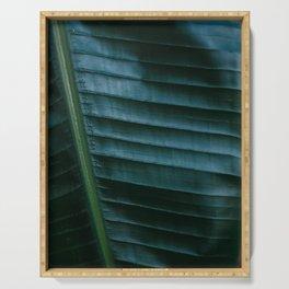 Botanical photography print | Dark green tropical leaf of a palm | Jungle Wanderlust art Serving Tray
