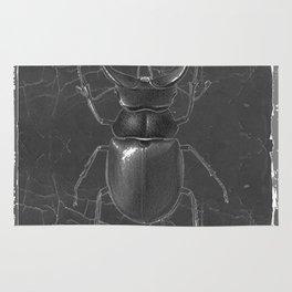 BLACK & WHITE  ANTIQUE STAG-HORNED BEETLE   PATTERNS  ART Rug