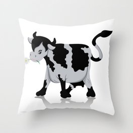 Cow chewing flower Throw Pillow