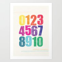 numbers Art Prints featuring Numbers by Laura Flowerday (PaperCrane)