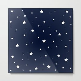 Scattered Stars White on Midnight Blue Metal Print