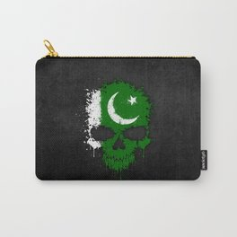 Flag of Pakistan on a Chaotic Splatter Skull Carry-All Pouch