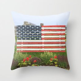 American Flag Rustic Throw Pillow