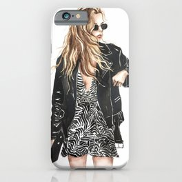 Trendy NYC girl in leather jacket and zebra print iPhone Case